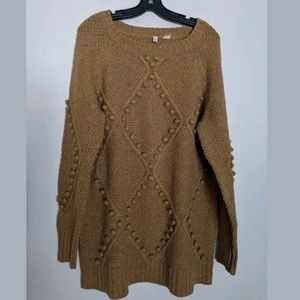 Anthropologie Moth Mustard Pom Cable Knit Sweater
